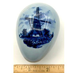 Other - Light Blue Ceramic Egg with Windmill Scene